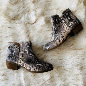 Lucky Brand Basel Leather booties snake size 9